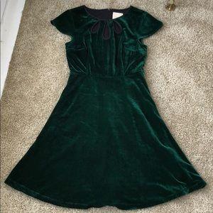 Green velvet A-line ModCloth dress